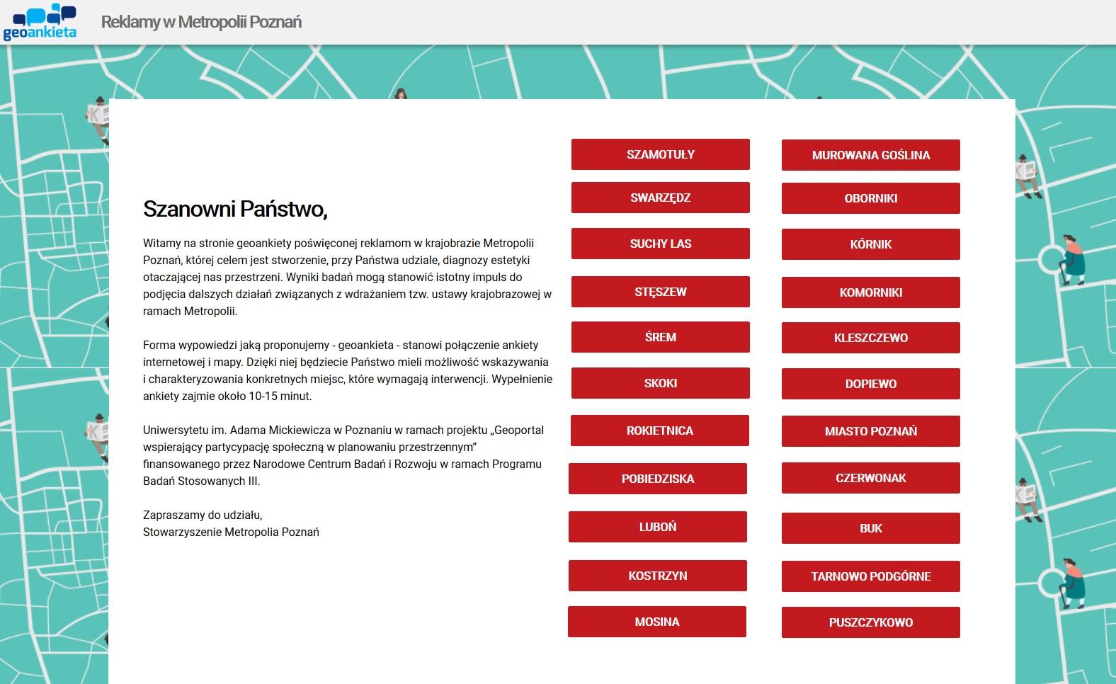 Grafika ukazująca stronę startową ankiety z hiperłączem kierującym do tej strony.