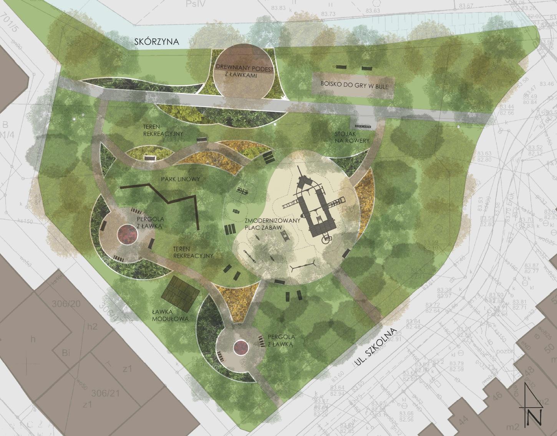 Rzut ukazujący rozplanowanie placu zabaw Leśny zakątek