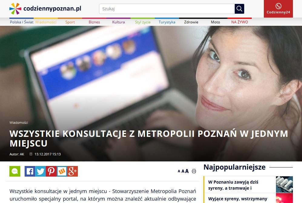 Widok strony CODZIENNYPOZNAN.pl oraz hieperłącze do artykułu na stronie CODZIENNYPOZNAN.PL