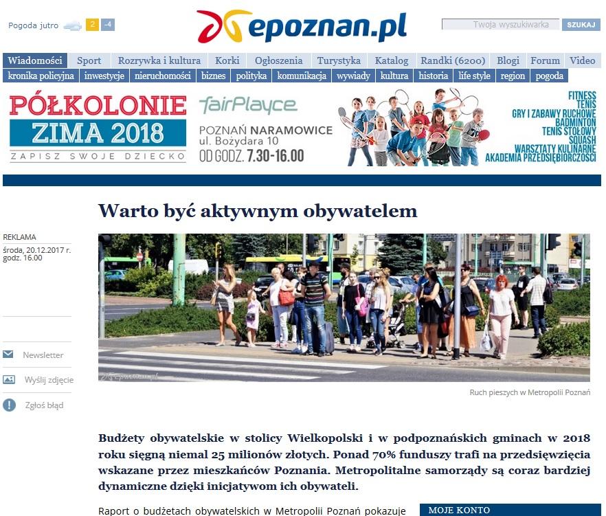 Widok strony EPOZNAN.pl oraz hieperłącze do artykułu na stronie EPOZNAN.PL