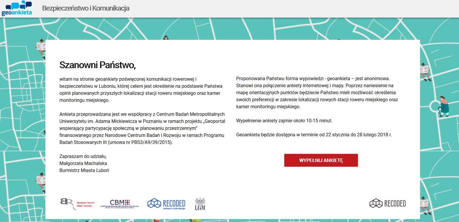 Zrzut ekranu - ankieta rowerowa Luboń