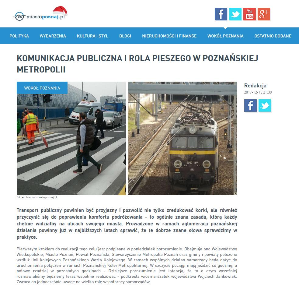 Widok strony MIASTOPOZNAJ.pl oraz hieperłącze do artykułu na stronie MIASTOPOZNAJ.PL