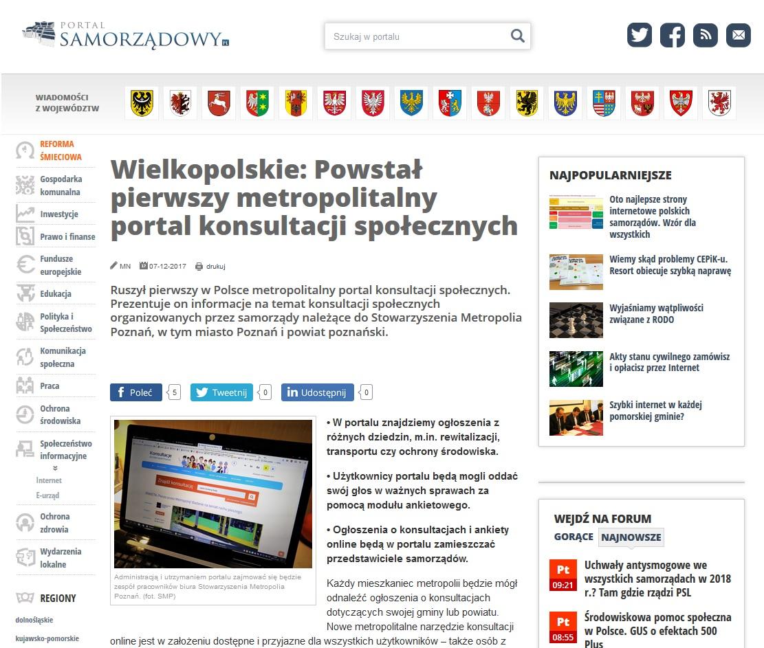 Widok strony PORTALSAMORZADOWY.pl oraz hieperłącze do artykułu na stronie PORTALSAMORZADOWY.PL