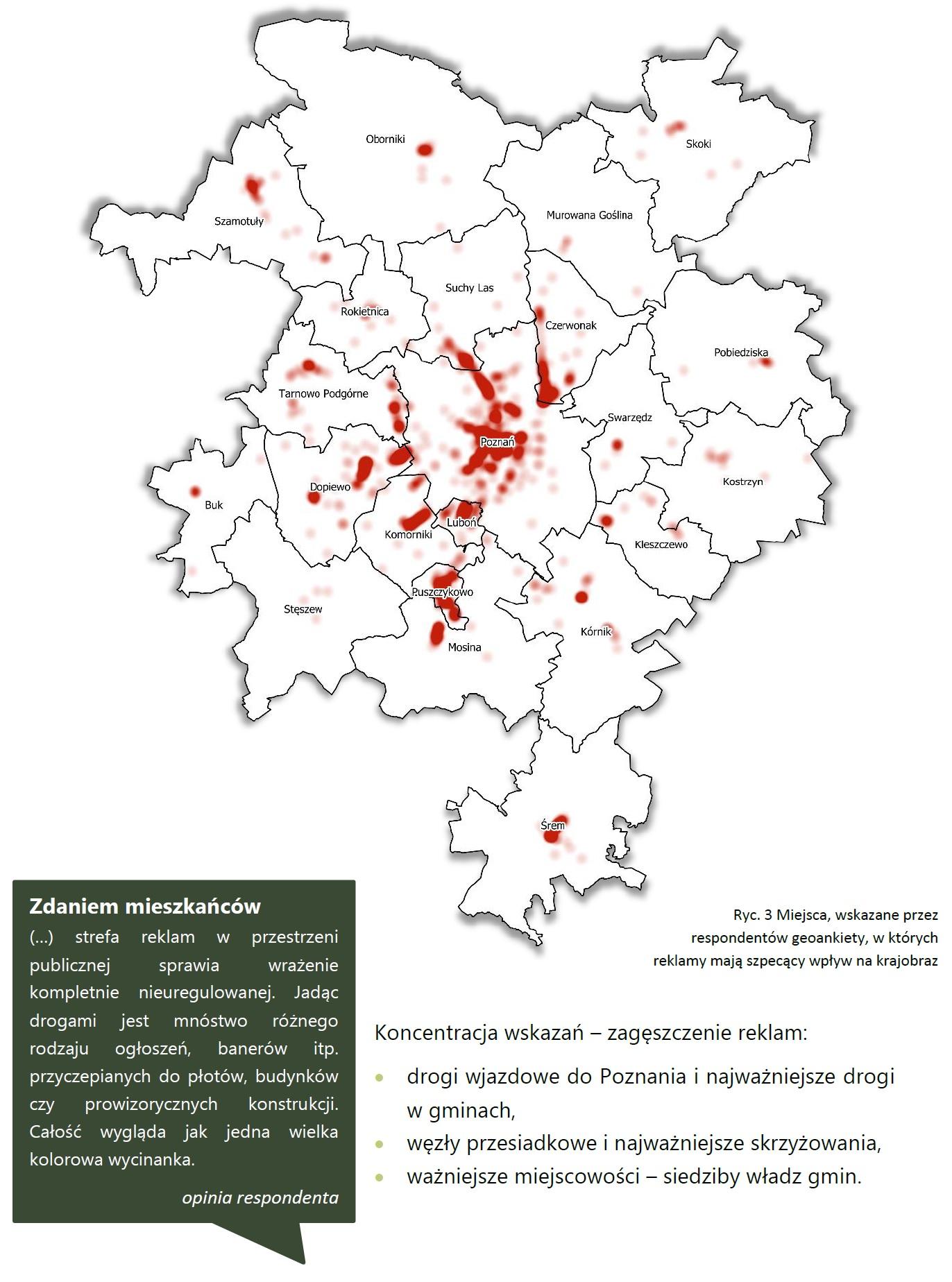 Grafika - mapa ze wskazaniem problematycznych reklam na terenie Metropolii Poznań