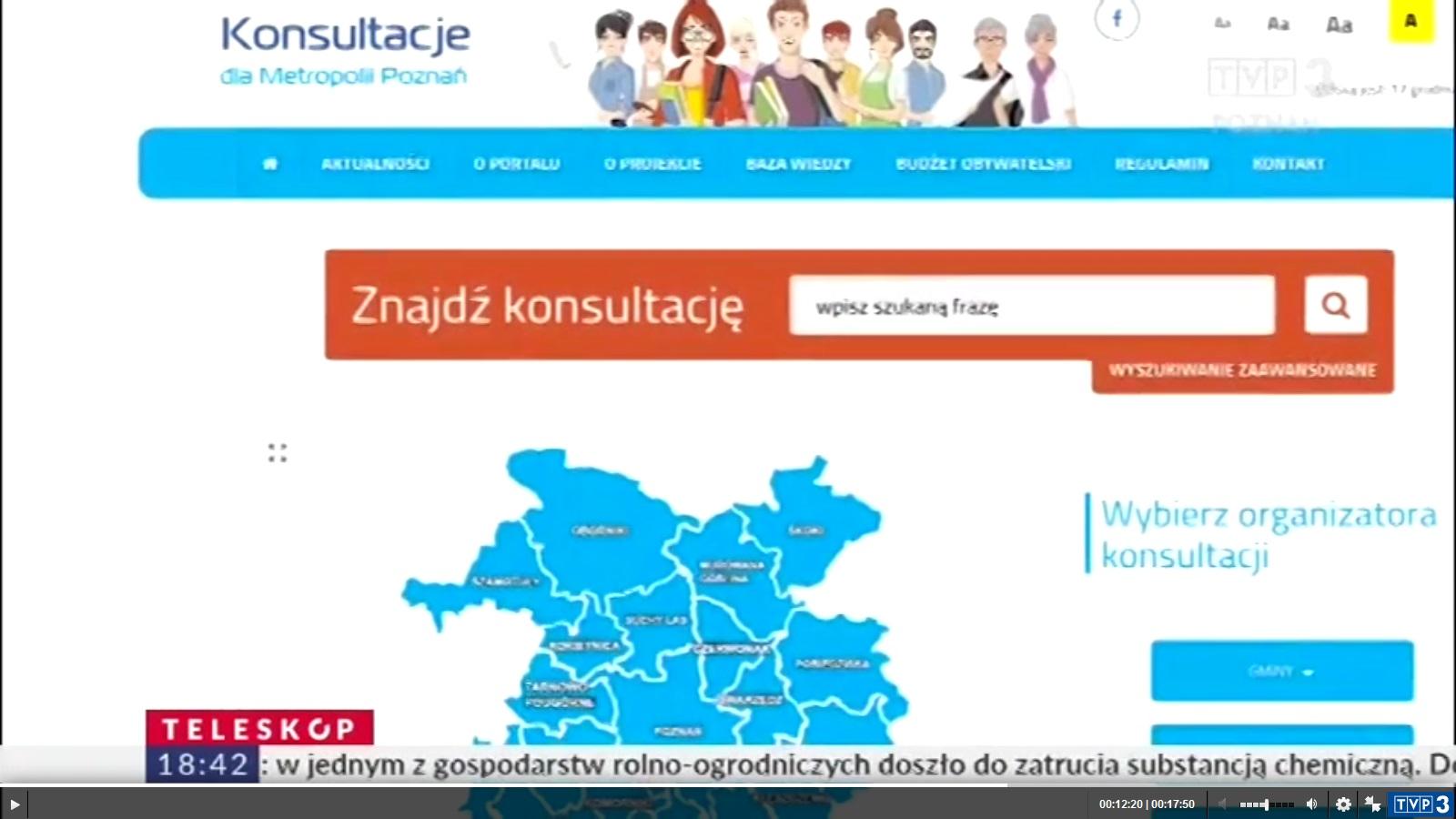 Fotografia kadru z programu Teleskop i hiperłącze do strony TVP Poznań