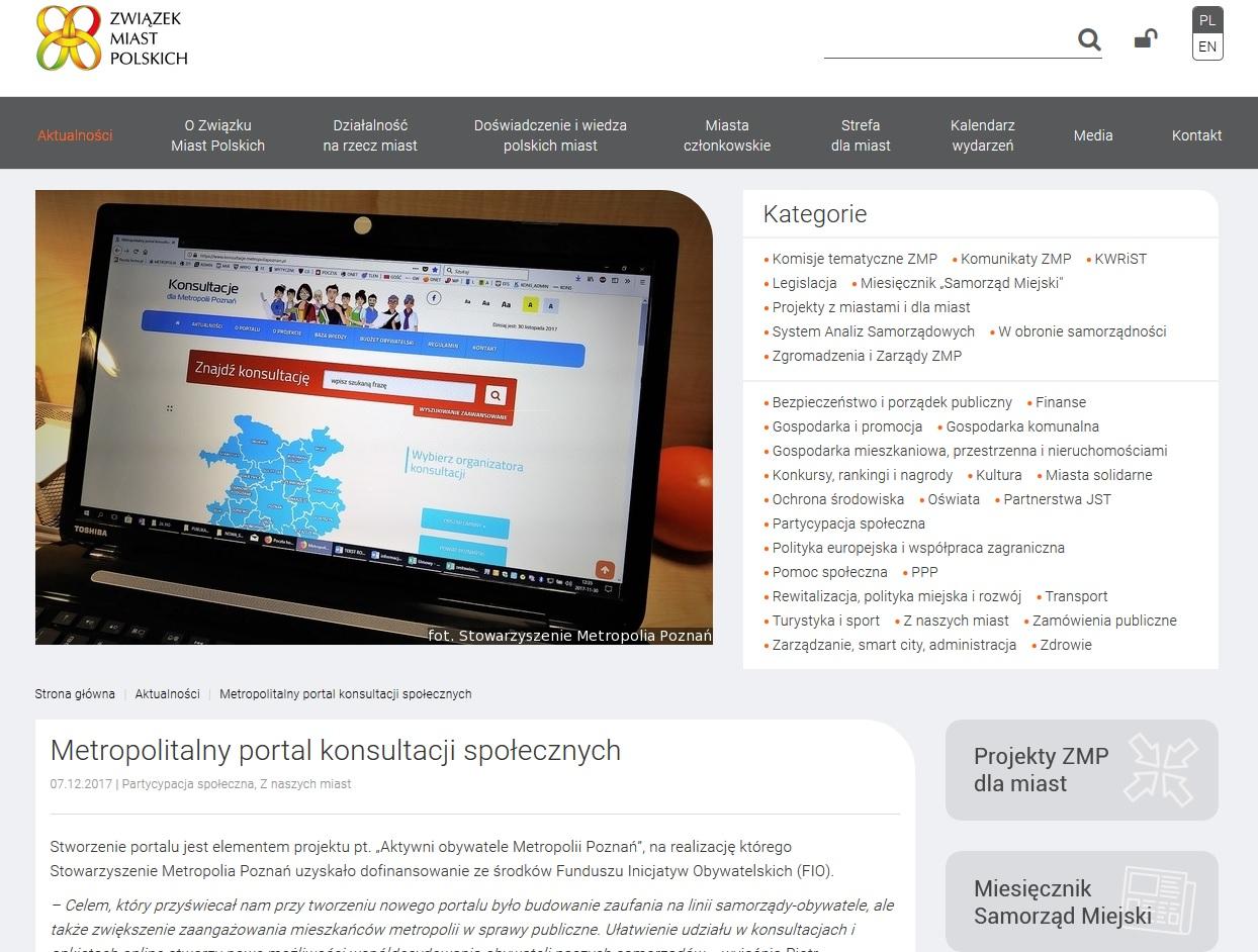 Widok strony ZMP.POZNAN.pl oraz hieperłącze do artykułu na stronie ZMP.POZNAN.PL